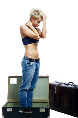 Girl and suitcases