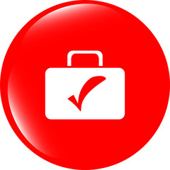 tick mark on business suitcase. web icon isolated