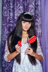 Girl and lollipop broken heart