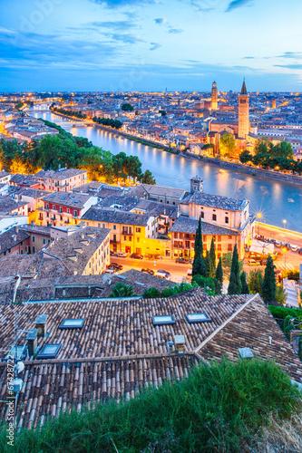 canvas print picture Verona am Abend