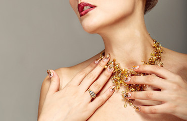 Trendy nail design and beautiful necklace