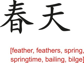 Chinese Sign for feather, spring, springtime, bailing, bilge