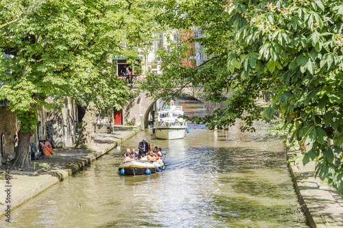 Tuinposter Kanaal Canals in old town of Utrecht in the day. Netherlands