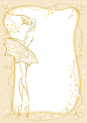 Stylish card with stylized ballerina on a gold background