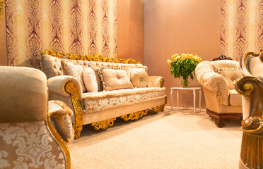 Luxury sofa in fashion interior