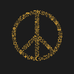 Religions Peace Shape - Yellow