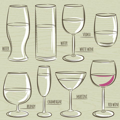set of different  glasses, vector