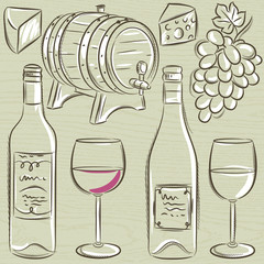 set of glases and bottles for wine, vector