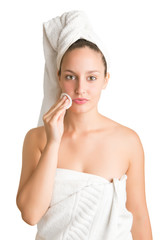Woman With Towel Around Her Head