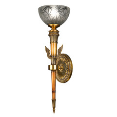 Ornamental vintage wall lamp isolated on white with clipping pat