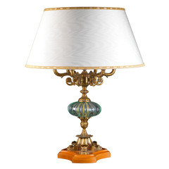 Ornamental vintage table lamp isolated on white with clipping pa