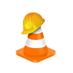 illustration of traffic cone with yellow safety hard hat