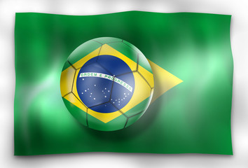 Brazil Football Flag And Ball Design