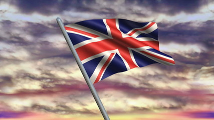 Looping United Kingdom flag animation with sky background