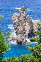 Rock on Ionian Sea near Paleokastritsa on Corfu Island in Greece