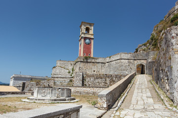 Clock tower in the old fortress in Kerkyra, Corfu, Greece