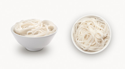 fresh noodle in a bowl  on a white background