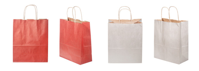 Set of shopping paper bag, clipping path, isolated