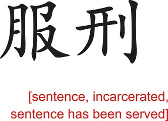 Chinese Sign for sentence,incarcerated,sentence has been served