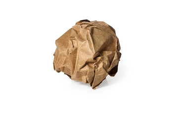 Cardboard paper ball, Crumpled Ball, isolated