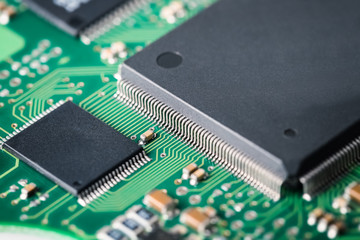 processor with electronic circuit board closeup