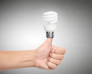 Ideas bulb light on  hand