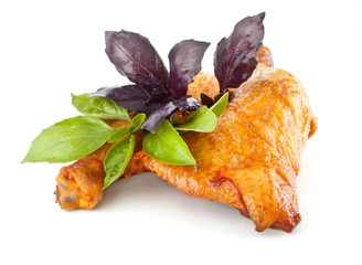 Smoked chicken with basil leaves