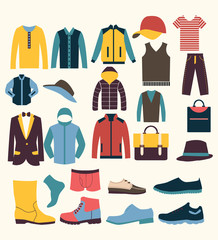 colorful vector icon set t in icons set of Fashion elements men