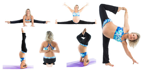 Collage of pregnant fitness woman make stretch on yoga