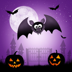 bat cartoon of Halloween