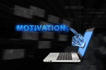 pointing hand motivation with digital background