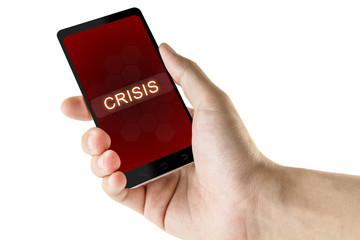 crisis word on digital smart phone