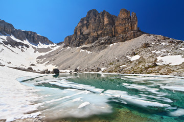 Dolomiti - lake Pisciadu and Sas de Lech mount