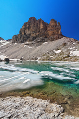 Dolomites - lake Pisciadu and Sas de Lech peak