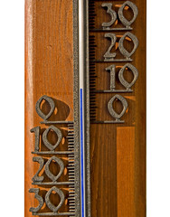 Thermometer with large digits on a wooden background