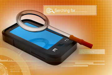 smart phone with magnifying glass