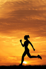 girl running at sunset