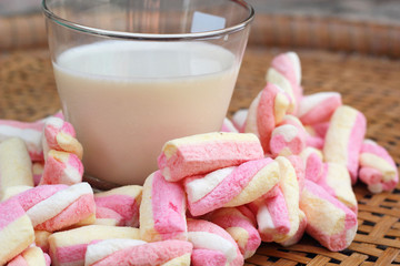 fresh milk and pink marshmallows