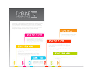 Colorful Infographic timeline report template with flags