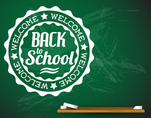Back to school vector white illustration on a green chalkboard