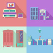Flat icons set of Set Interior in flat style with long shadow  -