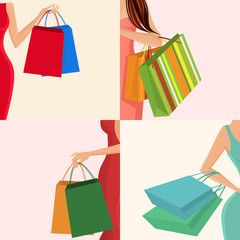 Shopping girl hand bag