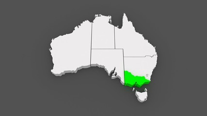 Map of Australia. 3d