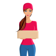 Woman delivery person portrait