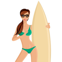 Surfer girl portrait