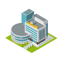 Cinema building isometric