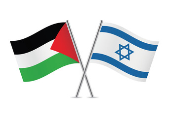 Palestine and Israel flags.