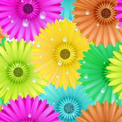 Seamless flower gerbera patter.