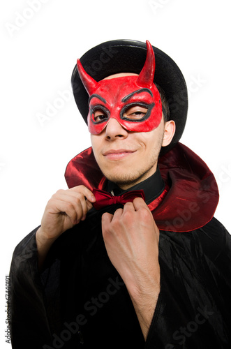 canvas print picture Funny devil isolated on the white background