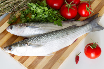Fresh sea grey mullet with with tomatoes and parsley